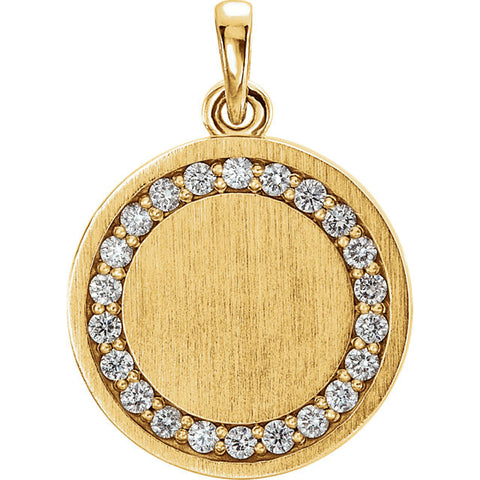 14K Gold 1/5 CTW Diamond Engravable Pendant