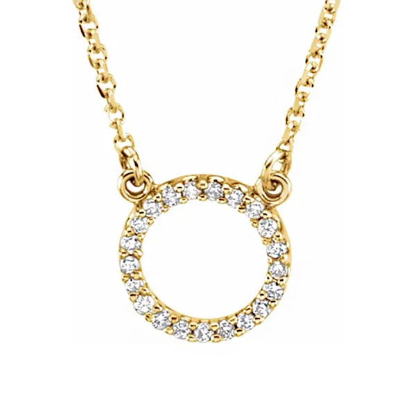 "14K Yellow 1/10 CTW Diamond Circle 16"" Necklace"