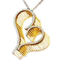 "Sterling Silver 14K Gold Plated ""3D"" Heart Necklace"