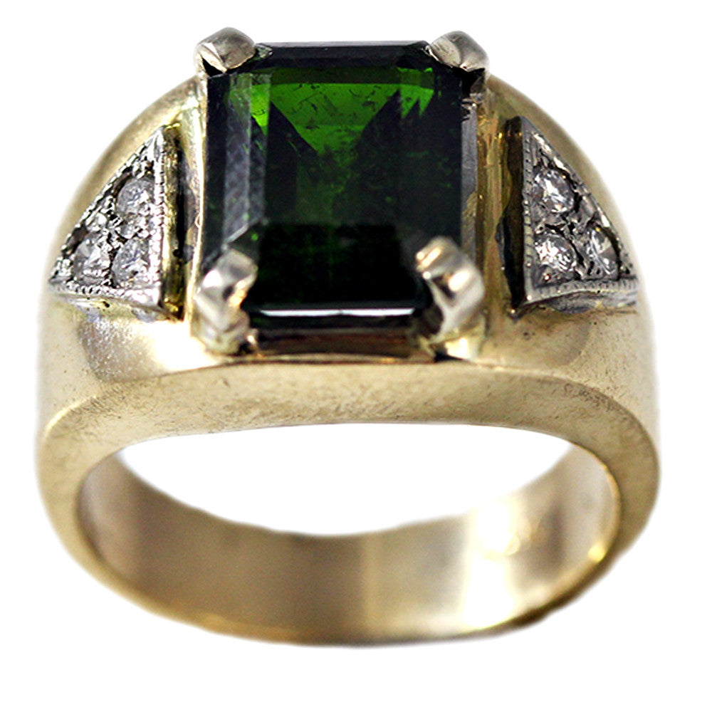 Estate 14K Gold Ring with Green Tourmaline and Diamonds
