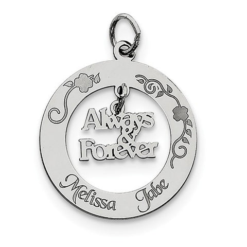 Sterling Silver Personalizable Always & Forever Charm