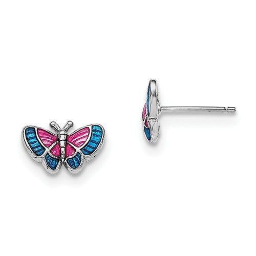Sterling Silver Rhodium-Plated Madi K Enamel Butterfly Post Earrings