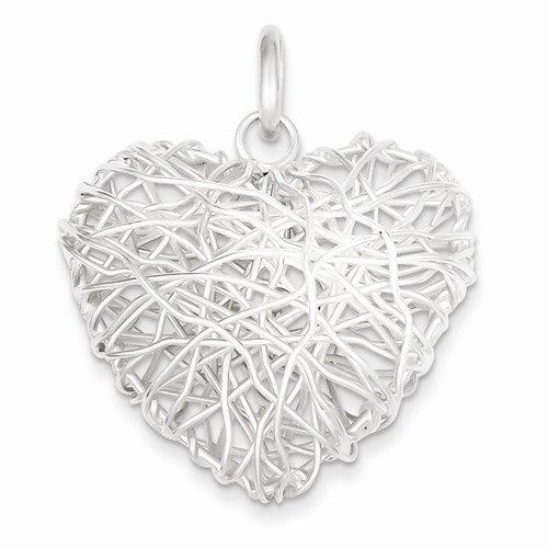 Sterling Silver Polished /& Heart Pendant