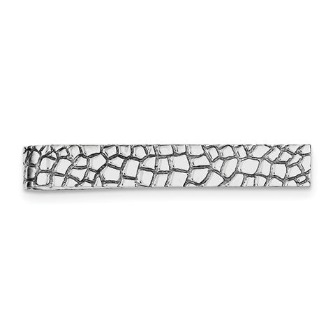 Sterling Silver Textured Pebble Tie Bar