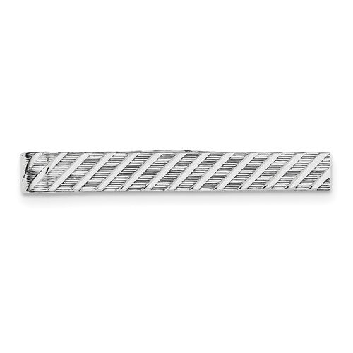 Sterling Silver Textured Stripe Tie Bar / Tie Tac