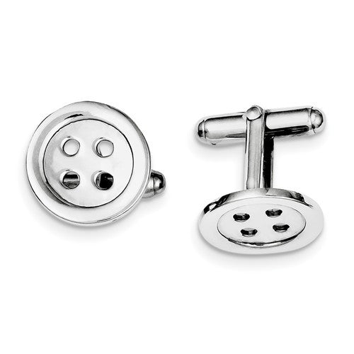 Sterling Silver Rhodium-Plated Button Cuff Links