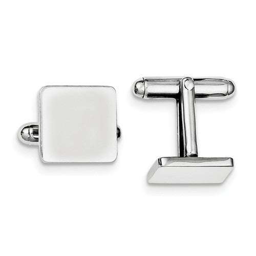 Sterling Silver Rhodium-Plated Square Cuff Links