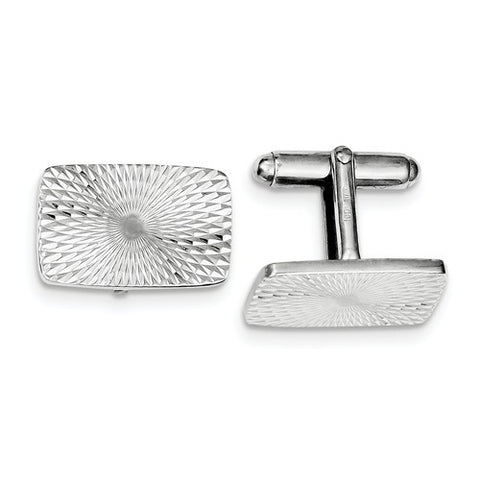 Sterling Silver Rhodium Plated Textured Swirl Cuff Links