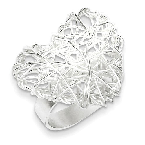Sterling Silver Polished Puffed Heart Filigree Ring