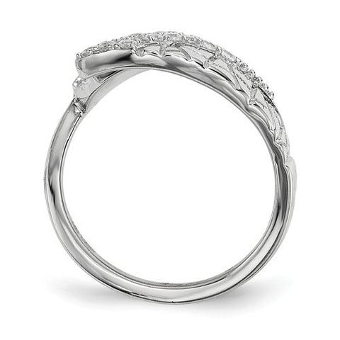 Sterling Silver Rhodium-Plated CZ Adjustable Fingernail Ring