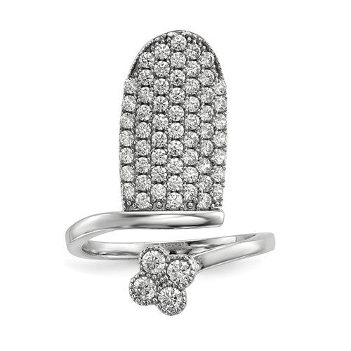 Sterling Silver Rhodium-Plated CZ Adjustable Flower Fingernail Ring