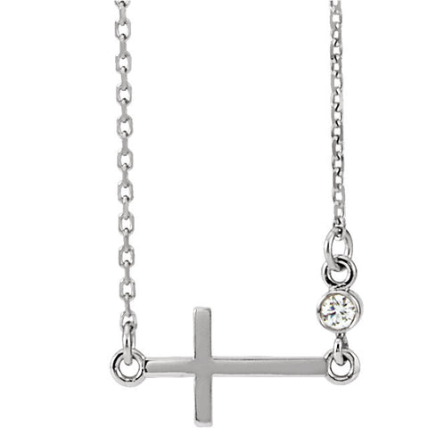 "14K White .03 CTW Diamond Sideways Cross 16-18"" Necklace"