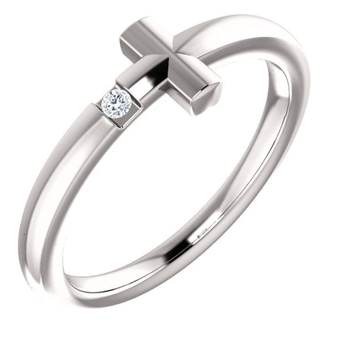 14K White .015 CTW Diamond Youth Cross Ring