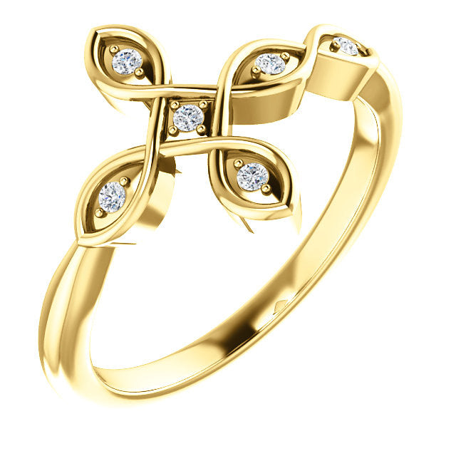 14K Yellow .05 CTW Diamond Sideways Cross Ring