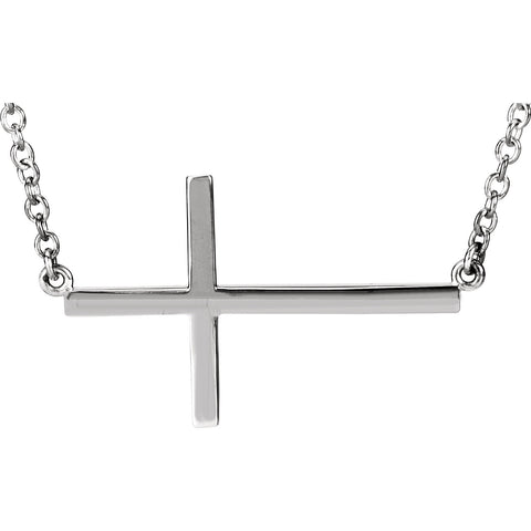 "14K White Sideways Cross 16-18"" Necklace"