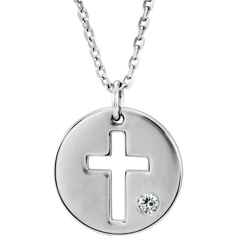 14K White .03 CTW Diamond Pierced Cross Disc Necklace