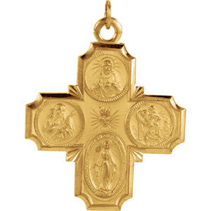 14K Yellow 30x29mm Four-Way Cross Medal