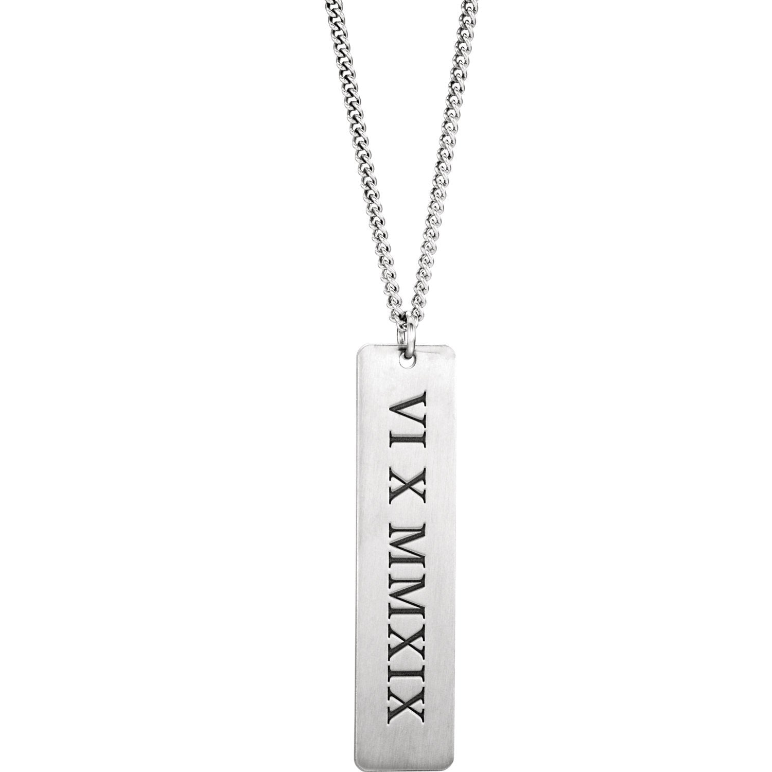 Rhodium-Plated Sterling Silver Roman Date Necklace