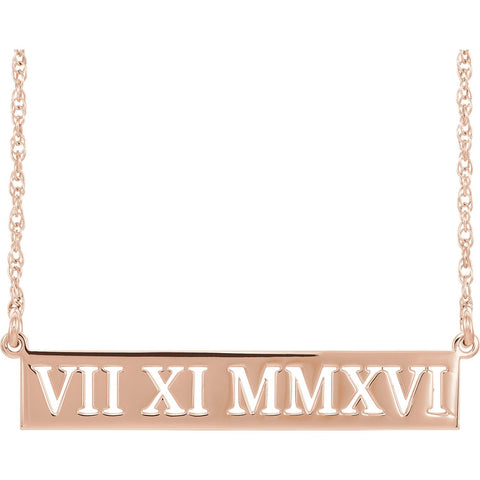 14K Rose Gold Roman Date Necklace