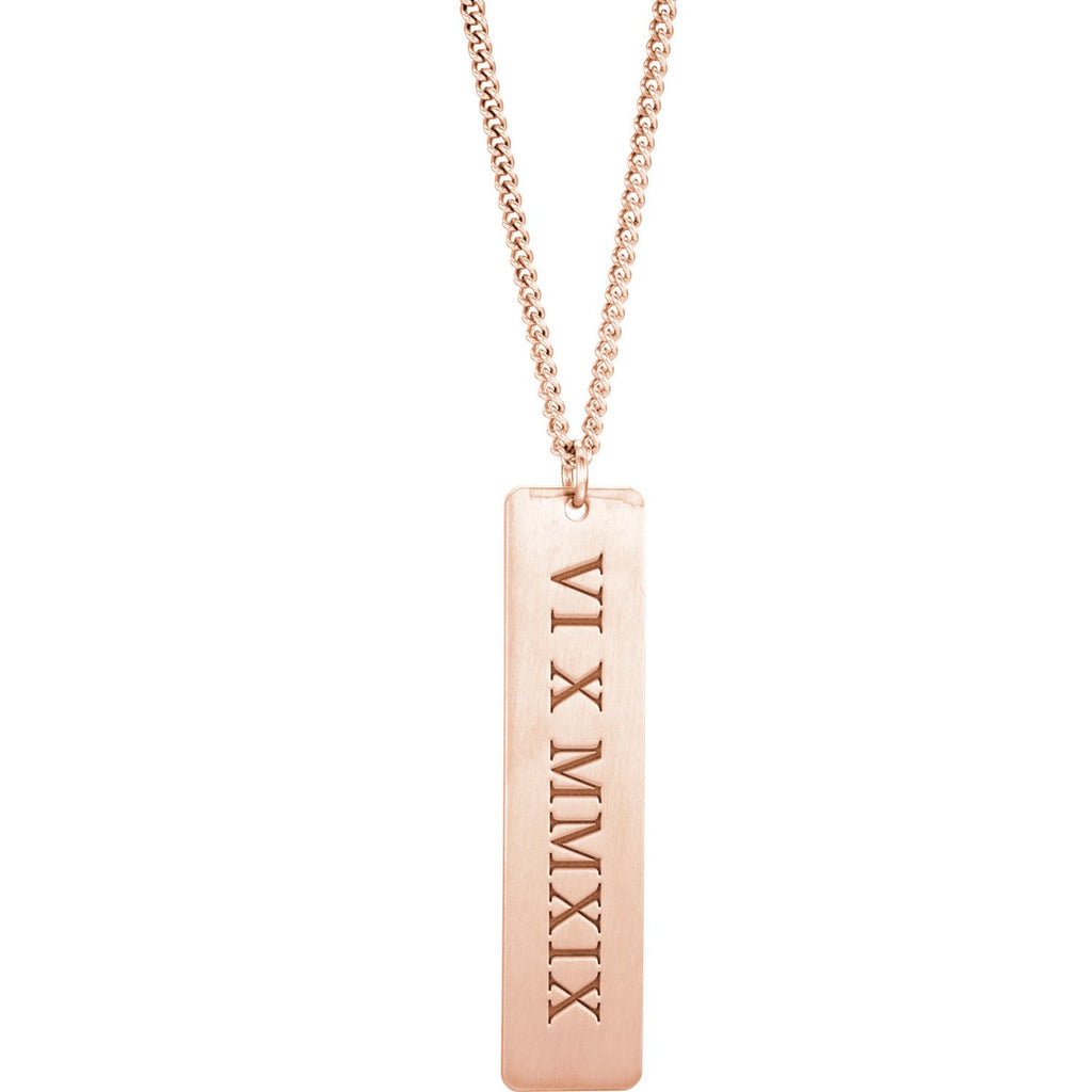 14K Rose Gold-Plated Roman Date Necklace