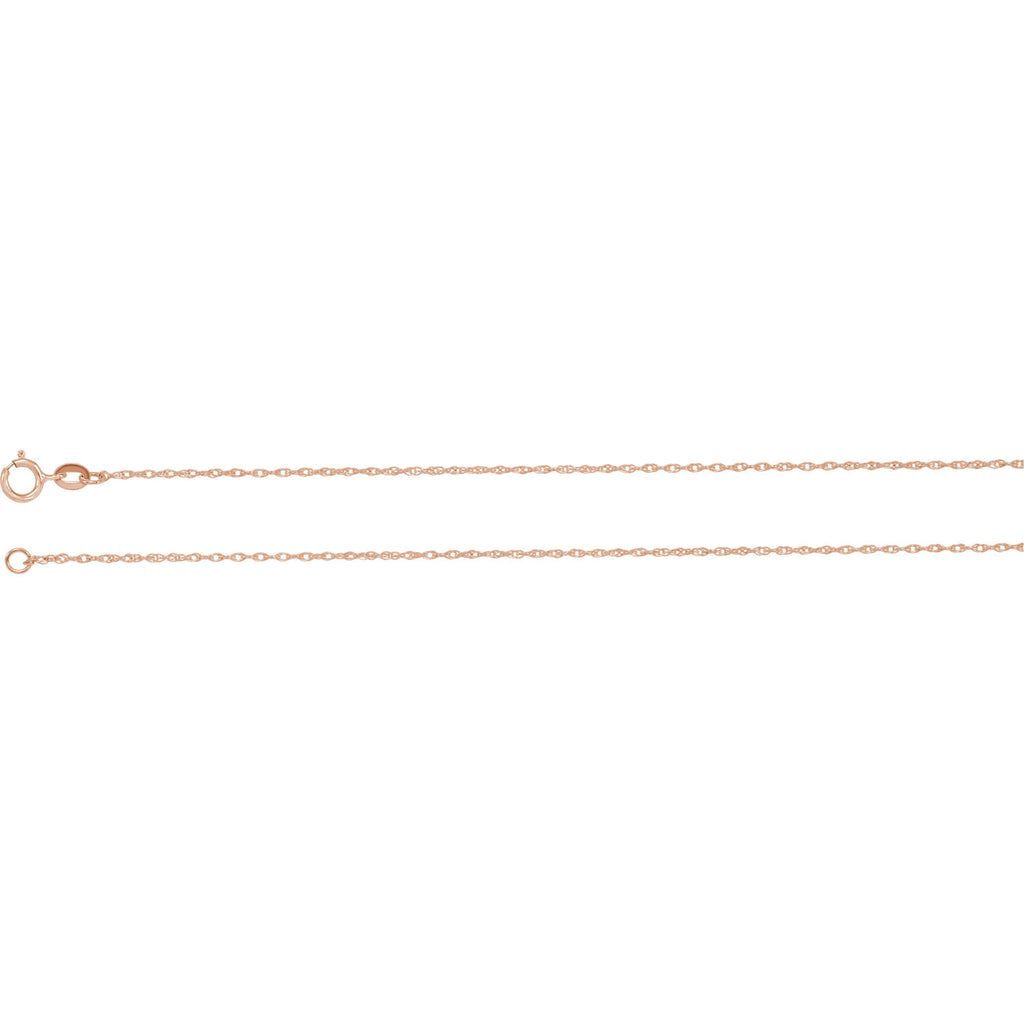 "14K Rose 1mm Solid Rope 18"" Carded Chain"