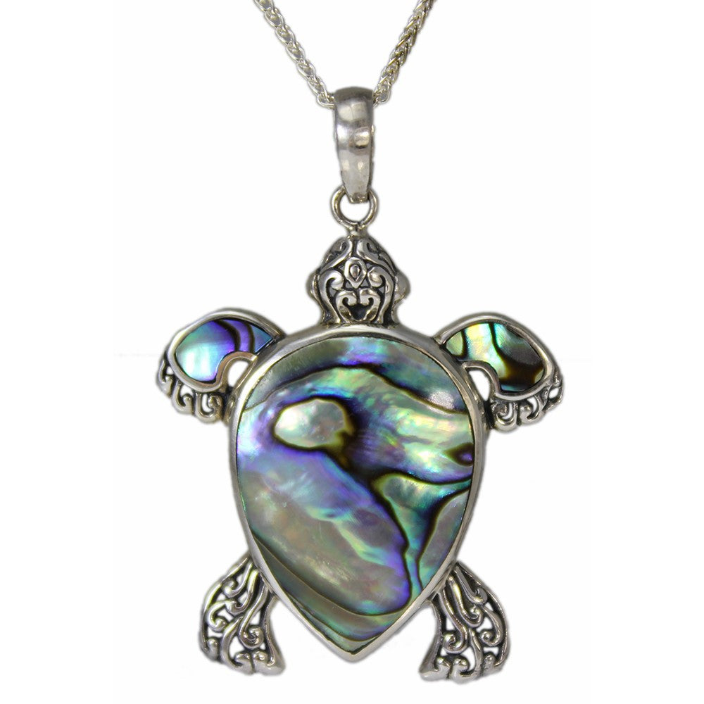Filigree Sterling Silver and Abalone Turtle Pendant
