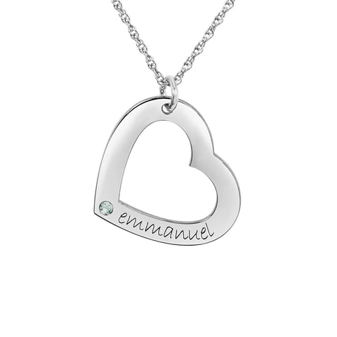 14K White Gold One-Stone Posh Mommy® Engravable Heart Pendant