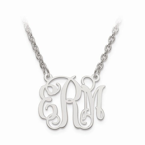 Sterling Silver Laser High Polished Monogram Plate