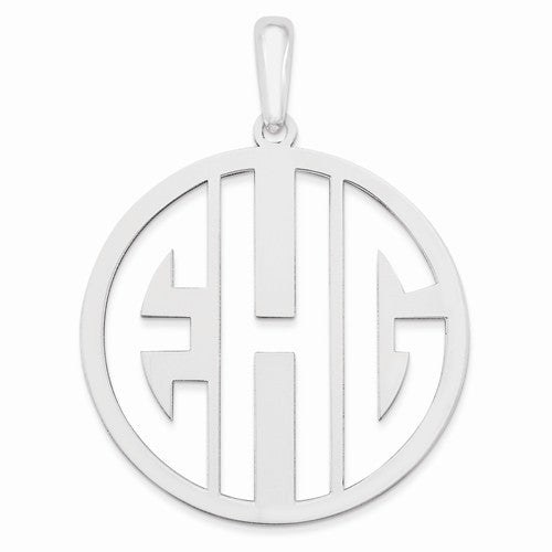 Sterling Silver Laser High Polished Monogram Pendant