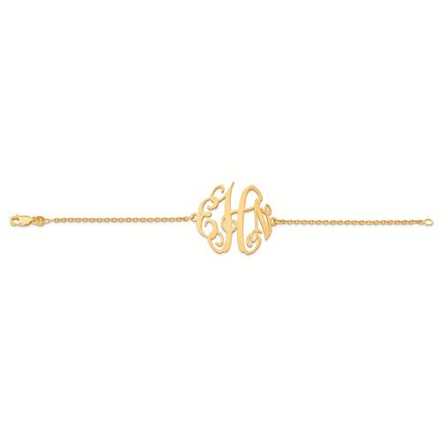 Gold Plated Monogram Plate With Chain Bracelet