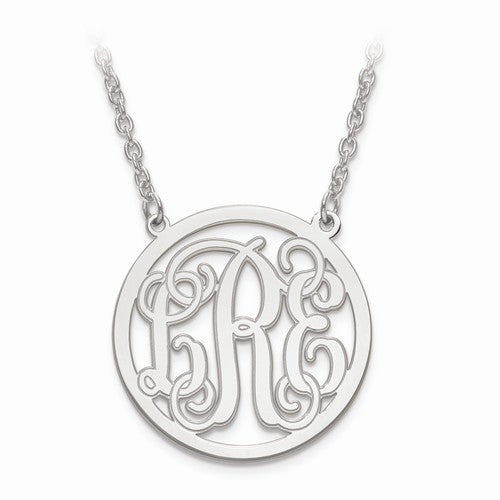 Sterling Silver Etched Outline Monogram Circle Pendant With Chain