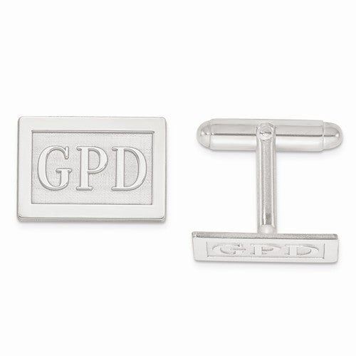 Sterling Silver Raised Letters Rectangle Monogram Cuff Links