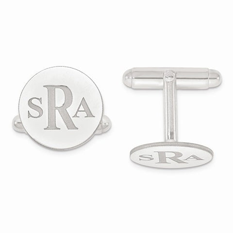 Sterling Silver Recessed Letters Circle Monogram Cuff Links