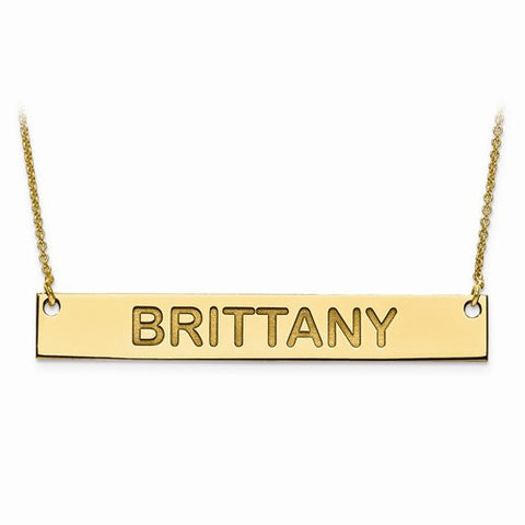 Gold Plated Block Letter Name Bar W/ Chain