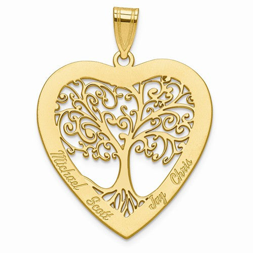 Laser Polished Family Tree Heart Pendant