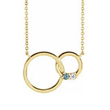 "14K Rose Gold 1-5 Stone Family Circle 18"" Necklace"