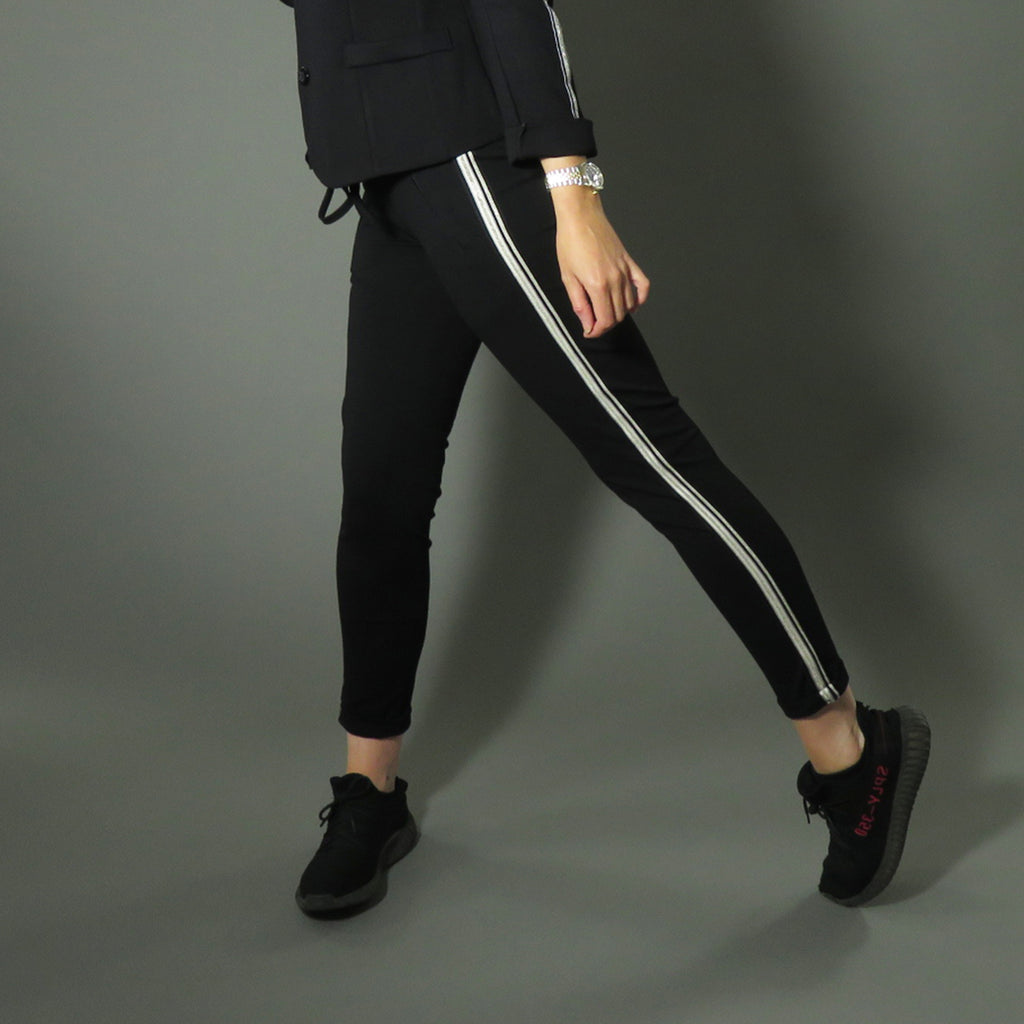 Fine black Joggers with embellished stripe on leg