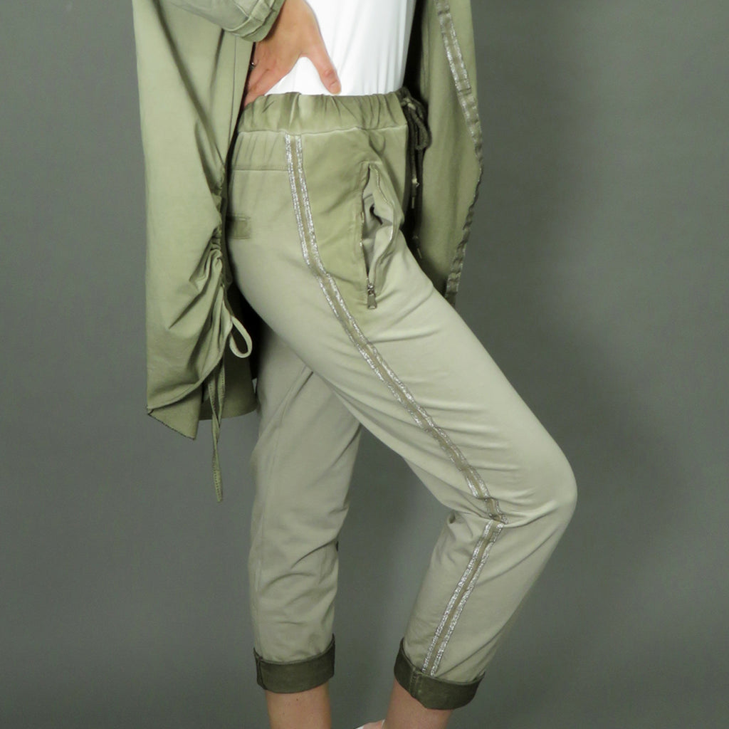 Joggers with Stripe- Olive