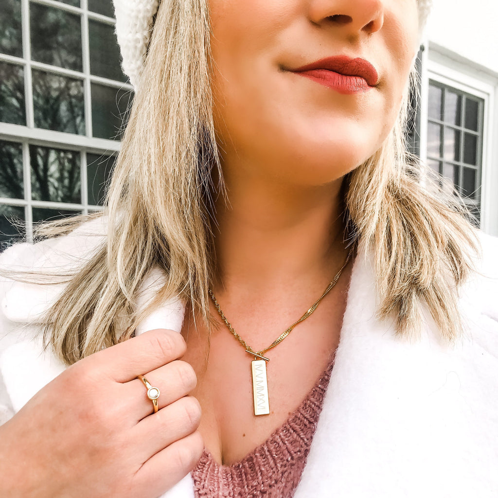 $influencer @5feetoffashion wearing Nola Gemstone Ring in Howlite by @brookandyork