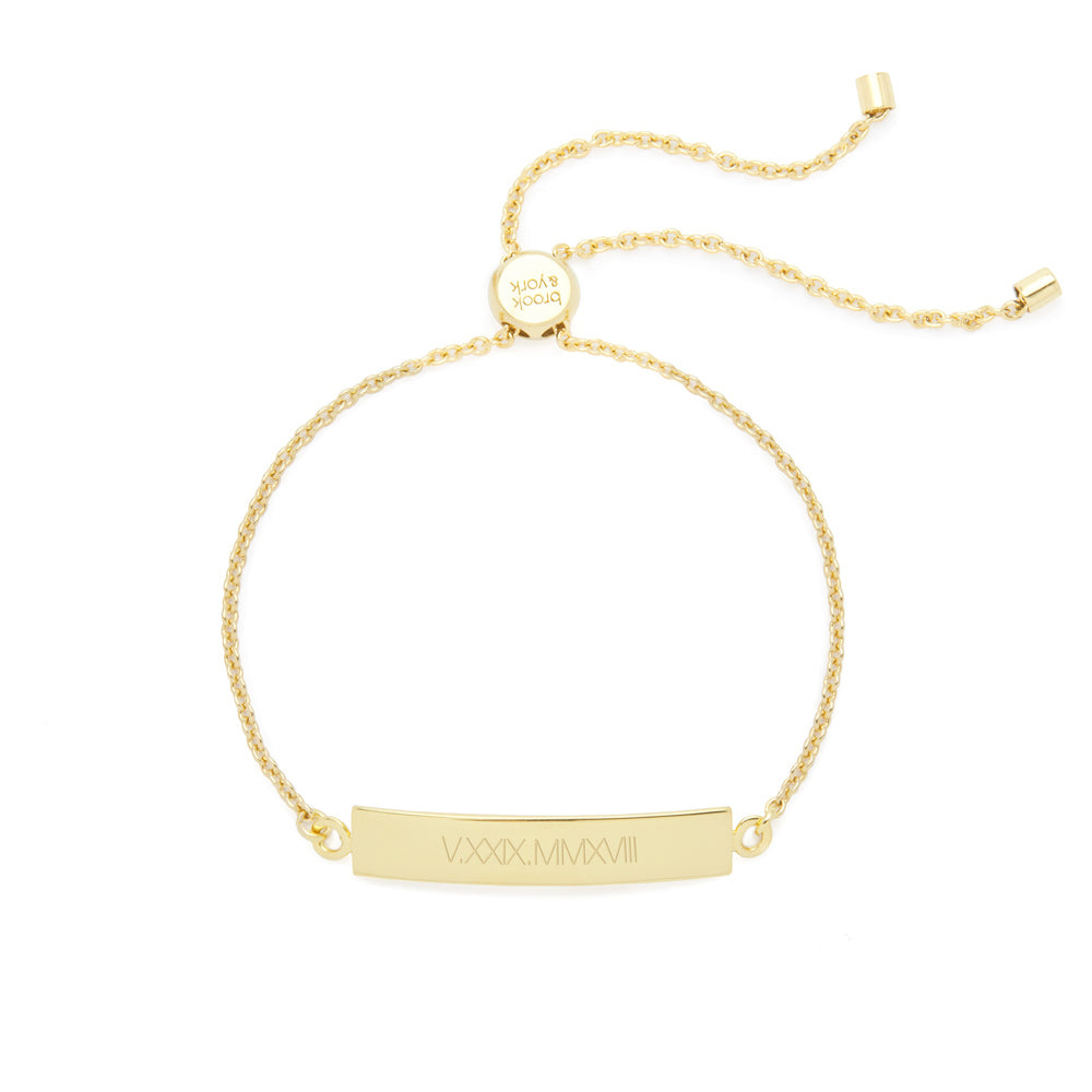 Elena Adjustable Roman Numeral Bar Bracelet