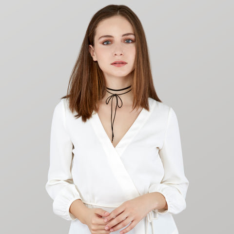 Whitney Thin Suede Wrap Choker