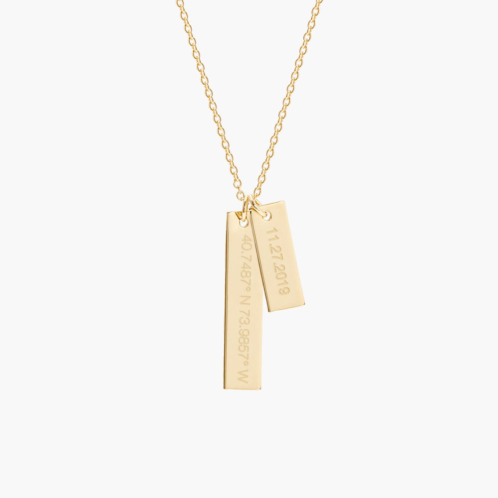 Coordinate Date Bar Necklace