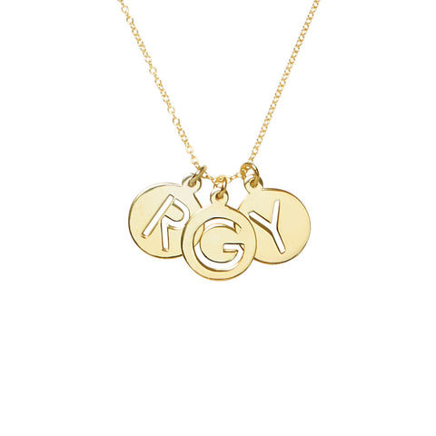 Halsey Cut Out Three Initial Necklace