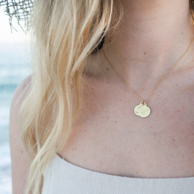 $influencer @leahdamermaid in Luna Script Two Initial Pendant by @brookandyork