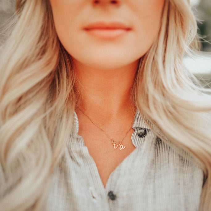 $influencer @happilyeverallen in Nella Mini Two Initial Pendant by @brookandyork