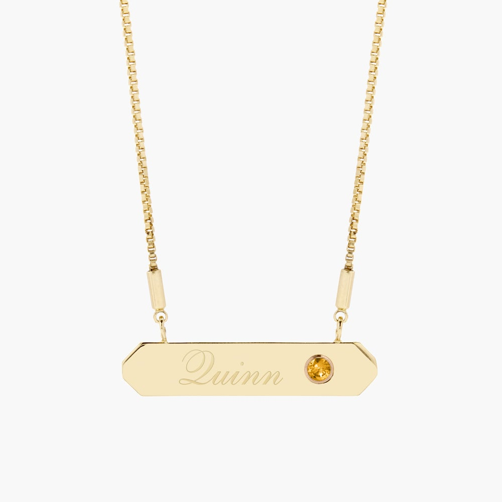 Hannah Birthstone Name Bar Necklace