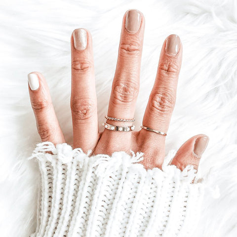 $influencer @foreverjenypher wearing Liv Rope Ring, Holly Pearl Ring, Aria Thin Fine Ring by @brookandyork
