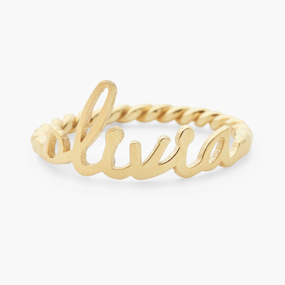 Nella Rope Nameplate Ring