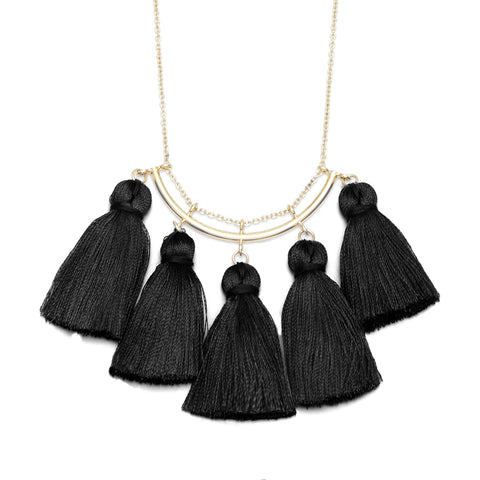 Black Tassel Gold Necklace
