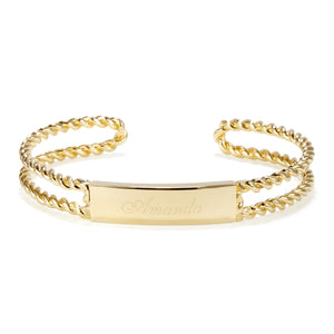Engravable ID rope cuff bracelet